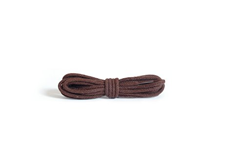 Kaps Schnürsenkel rund und dünn – 2mm breite Schnürbänder aus 100% Baumwolle in hochwertiger Qualität – Schuhbänder für Freizeitschuhe und Modeschuhe – 1x Paar (90 cm - 5 to 6 Ösenpaare) , 76 - Braun
