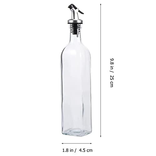 4pcs 250ml Botella dispensadora de Aceite de Oliva Vinagre Dispensador de vinagreras con Pico sin Goteo Recipiente para condimentos líquidos Decantador de Vidrio para Cocina Cacerola casera