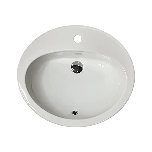 Jo-Bagno.it LAVABO Incasso Tondo Ceramica - Lavandino Soprapiano Oval L. 57 x 48 cm Monoforo Pred. a 3 Fori