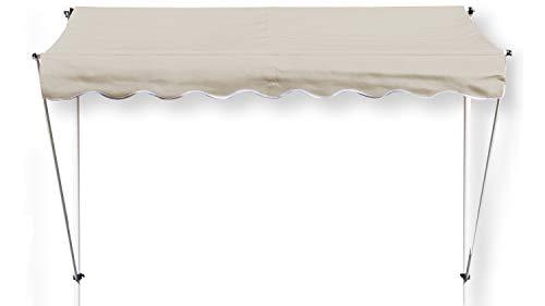 GRASEKAMP Qualität seit 1972 Klemmmarkise Ontario 255x130cm Sand Beige Balkonmarkise höhenverstellbar von 200 cm – 320 cm