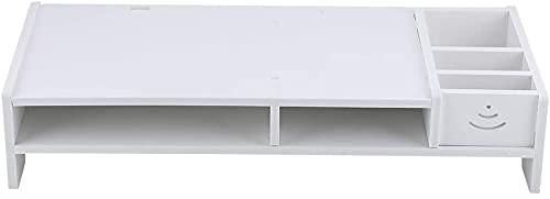 FGWE Monitor de computadora Riser Laptop PC Stock HOGAR Oficina Oficina Mesa de Escritorio Almacenamiento Organizador Estante Blanco,White
