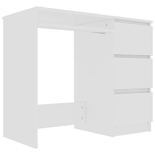 Festnight Escritorio de Aglomerado Mesa de Ordenador Escritorio para Hogar Oficina con 3 Cajones Blanco 90x45x76 cm
