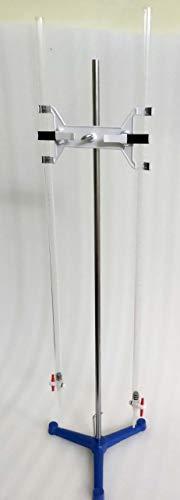 Yantra Titration Set met twee acryl bureaus, 50 ml met dubbele bureauklem en zware gietijzeren statief