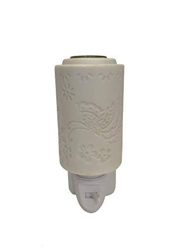 Solasy nachtlampje, geurdispenser voor etherische oliën, porselein, vlinder, wit