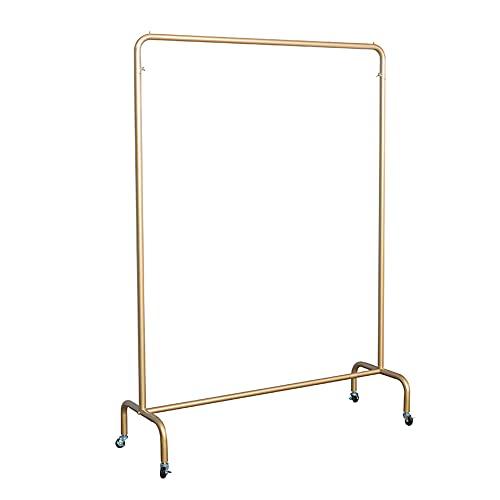 Estantes de secado resistentes, estantes de exhibición de ropa de hierro forjado, estantes de exhibición móviles de tienda de ropa abierta para mujeres, fuerte capacidad de carga/dorado / 100×