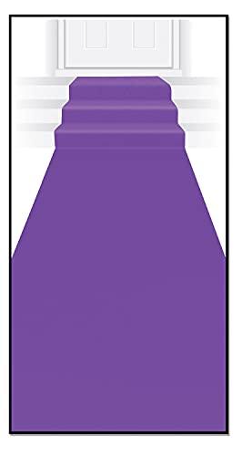 Beistle Novelty Purple Polyester Fabric Aisle Runner for Birthdays, Weddings, Graduation and Princess Theme Parties, 24' x 15'