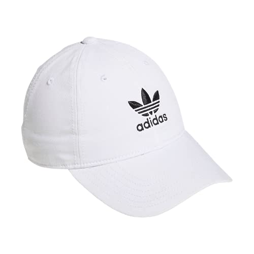 adidas Originals Women's Relaxed Fit Adjustable Strapback Cap, White/Black, One Size