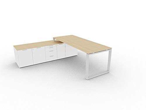 Bralco Schreibtisch mit Sideboard Loopy, Chef Schreibtisch, Chefbüro, hochwertige Büromöbel