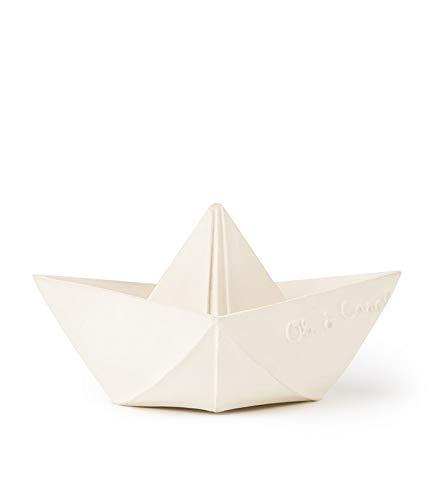 Oli&Carol Juguete Baño de Caucho Natural Barco Origami Blanco 11 cm