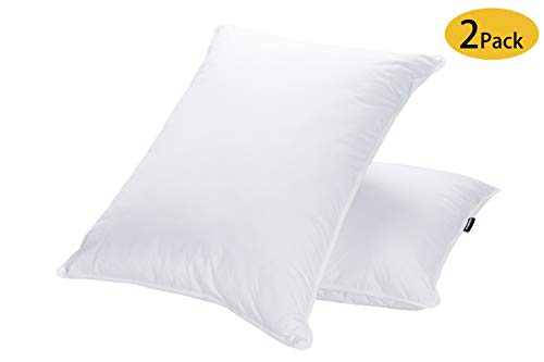 JA COMFORTS Goose Down and Feather Bed Pillows for Sleeping (2 Pack)- Standard/Queen(20IN×28IN),...