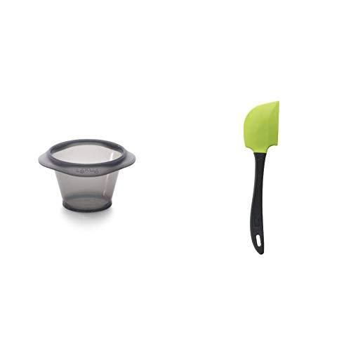 Lékué Set de 6 Moldes para Coulant de Chocolate de Silicona, Negro/Translúcido + Tools - Espátula, 27,5 cm, color verde