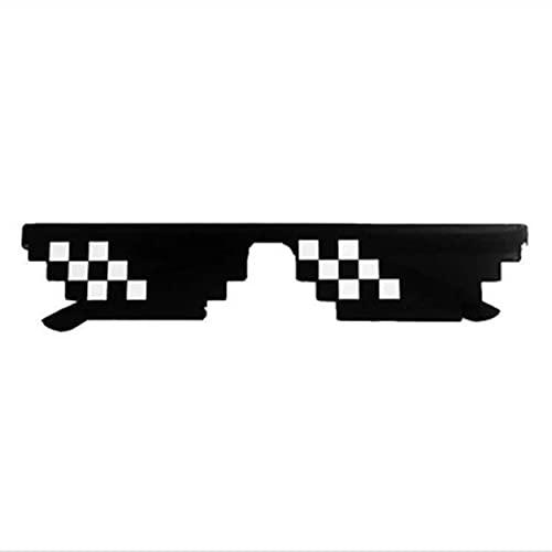 Morninganswer Gafas de Sol, Gafas de Mosaico de píxeles Gafas de Sol Gafas de Sol prácticas codificadas Regalo de cumpleaños Escenario Gafas portátiles
