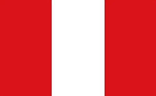 Pérou sans Blason Drapeau 0,9 x 0,6 m Medium – 100% Polyester – Oeillets en métal – Double couture