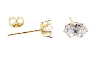 Geboorte stenen juwelen 9ct geel goud 6 x 4mm ovaal gevormde zirkonia 6 klauw mand set stud oorringen