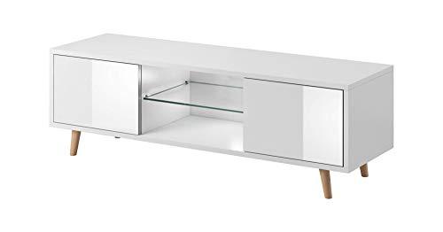 Sweden mobiletto porta tv colore bianco opaco e bianco lucido in stile scandinavo. Illuminazione a LED di color azzurro.