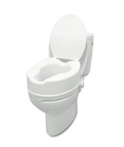 PEPE - Elevador WC con Tapa (15 cm de altura), Asiento Elevador WC Adultos, Elevador WC Universal, Asiento WC Ortopédico, Elevador Inodoro Personas Mayores y Minusválidos, Alzador WC Adulto, Blanco.