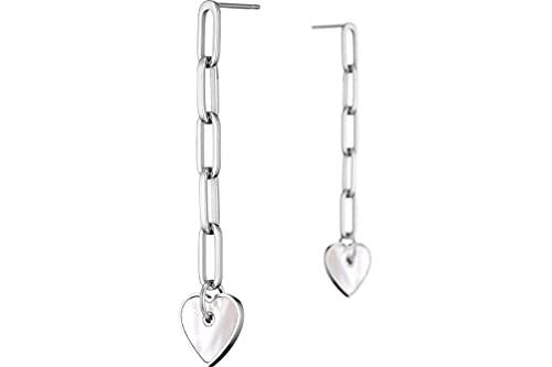 Zag Bijoux - Pendientes perforados con eslabones de corazón de acero, nácar, color plateado