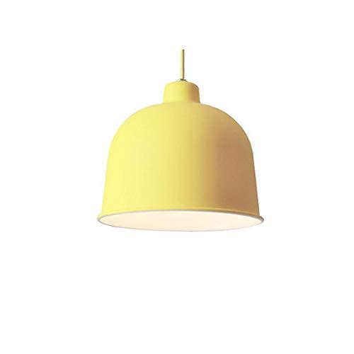 Nordic Modern Pendelleuchte, höhenverstellbare Hängelampe für den Esstisch, Lampenfassung E27, Lampenschirm aus Aluminium, runde Hängelampe in Makronenform für Esszimmer, Schlafzimmer und Café,Gelb