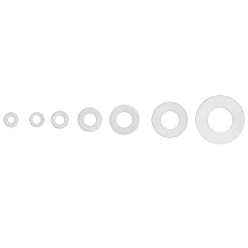 Arandela plana, suministrada con caja de plástico hecha de nailon Arandela de junta adecuada nailon (blanco)