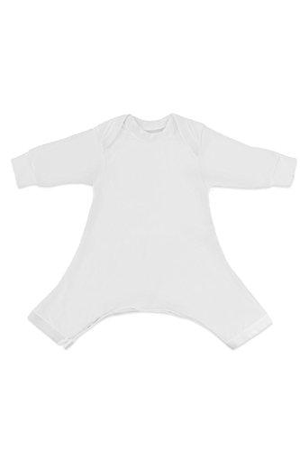 Hip-Pose Baby-Strampler/Strampelanzug mit langen Ärmeln für Spreizhose und Gipshosen für Neugeborene 0-3 Monate, weiß