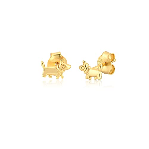 925 plata esterlina dinosaurio gato rinoceronte pendiente de animal pendiente de moda joyería de moda para mujer pequeños accesorios-oro