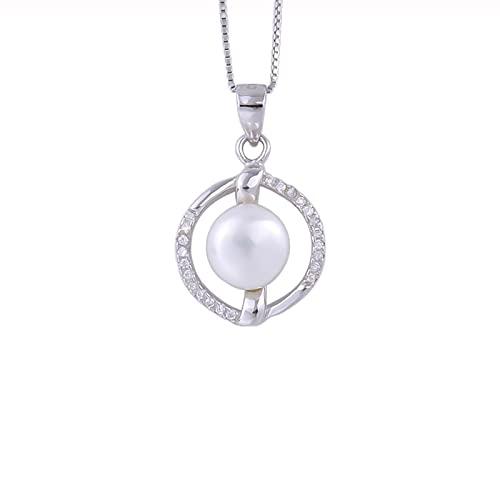 Kkoqmw Collares de Perlas de Agua Dulce Naturales de aro Redondo de Plata de Ley 925 para Mujer, joyería de Cadena con Colgante de circón