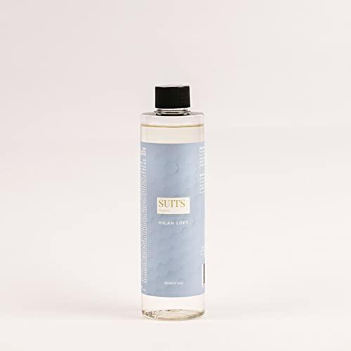 Recambio de perfume para difusor de ambiente de varillas, 250 ml, SUITS FRAGRANCE, Milan Loft Fragancia bayas de vainilla, ámbar y madera