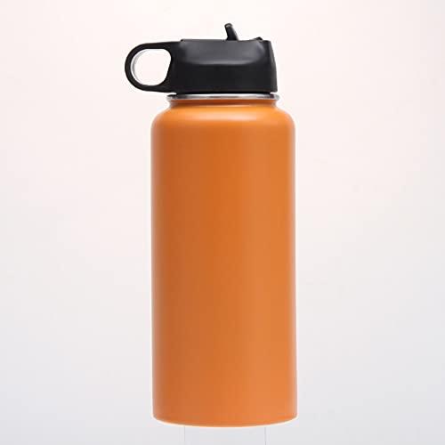 Xiaobing Rocíe Colorida Taza de Acero Inoxidable 32 oz Botella de Agua para Deportes al Aire Libre de Gran capacidad-naranja-32 oz