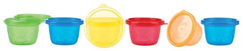 Nûby ID91161A Pick Nick Snack Cups, Schälchen mit Deckel, mehrfarbig, 6er Pack