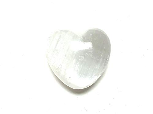 (Selenite) - Zentron Crystal Collection: Selenite 30MM All Natural Polished Pocket Gemstone Crystal Puff Heart and Velvet Pouch