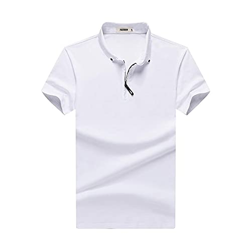 WanXingY Polo Shirts para Hombres 2021 Moda Moda de Manga Corta de Manga Corta para Hombre Diseñador de Polo de Gran tamaño Ropa Negro Blanco Gris (Color : White, Tamaño : 3XL)