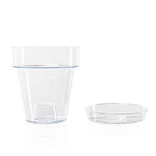 Kalapanta Vaso per Orchidee trasparente in plastica con Fori Drenaggio e Sottovaso - Diametro 14 cm (Confezione singola)