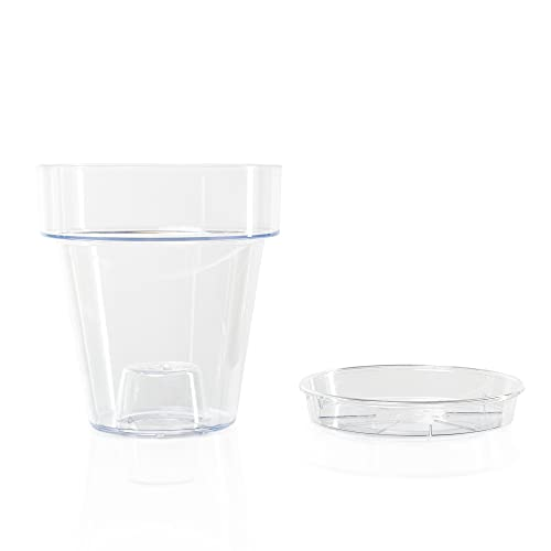 Kalapanta Maceta de plástico Transparente para orquídeas con Orificios de Drenaje y platillo (1,...