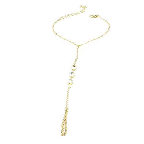 Strass Armreif Slave-kette Interweave-finger-ringe Hand Harness Armband Goldene