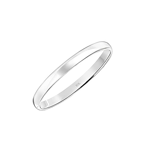Women's 10K White Gold 2MM Petite Classic Plain Wedding Band by Brilliant Expressions, Size 5.5