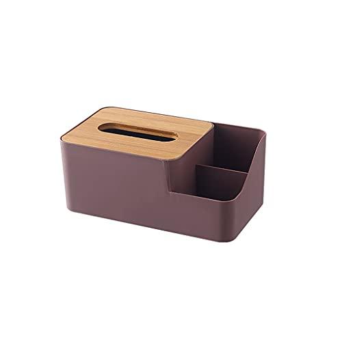 SCASTOE Caja de pañuelos de plástico de bambú cubierta servilleta dispensador de papel organizador titular cosmético