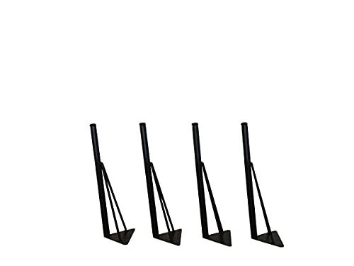 マメてりあ アイアンレッグ 角度付き 丸タイプ 鉄脚 DIY テーブル脚 4本セット ツヤ消し黒(マッドブラック) カット サイズ オーダー 可能 アンティーク ビンテージ 黒 ブラック (41cm)