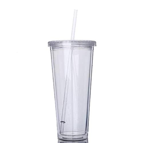 N\C Taza portátil de Viaje de plástico con Deportes de Paja, Taza sellada Botella de Jugo de plástico de Doble Capa
