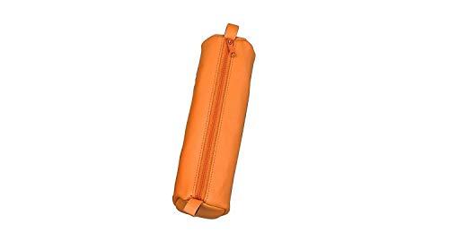 Alassio 43141 - Schlamperrolle aus echtem Leder, Stiftetui orange, Schlamper ca. 21 x 6 cm, Schlampermäppchen rund, Etui für Schreibgeräte, Faulenzer mit Reißverschluss