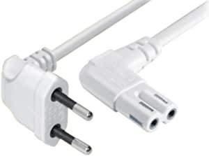 Cable de alimentación europeo C7 para televisores, cable de alimentación acodado a enchufe europeo de 8 hembras, para cajas inalámbricas, TV, Blu-Ray, radio, fuentes de alimentación blancas, 1 m