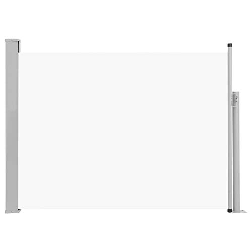Canditree Outdoor Retractable Side Awning, Privacy Fence Wind Screen UV Resistant for Patio Balcony Terrace 47'x197' (Cream)