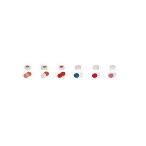neoLab 7-0755 Schnappringkappen, ND11, PE, Loch, Silikon Weiß/PTFE Rot (100-er Pack)