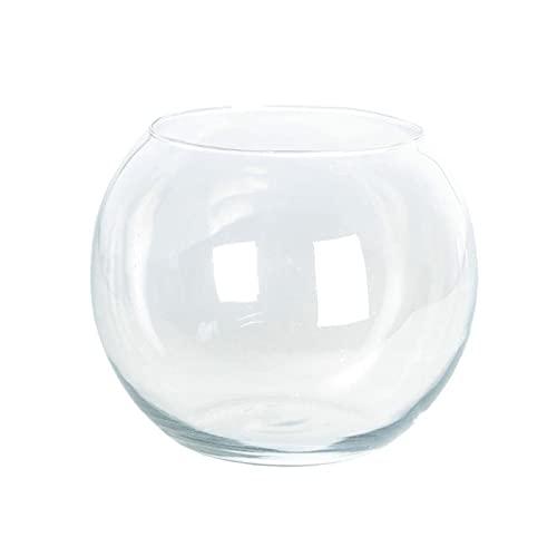 Acan Pecera de Vidrio Redonda de 22 x 25 cm, Especial para Peces pequeños, con diseño Bonito y Elegante. Recipiente de Cristal válido para Uso con Animales o como decoración con Piedras o gravilla.