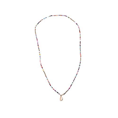 Xingying Collar de perlas multicolor bohemias con concha para clavícula, cadena encantadora,...