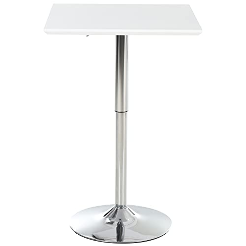 HOMCOM Square Height Adjustable Bar Table Counter Pub Desk with Metal Base for Home Bar, Dining Room, Kitchen, White