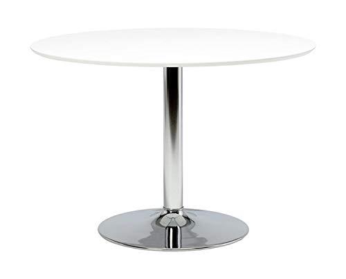 Ibiza - Mesa de comedor redonda grande (110 cm, base de metal cromada), color blanco