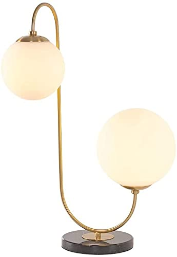 Rnwen Galvanoplastia Poste de Hierro Forjado lámpara de Mesa de Vidrio Moderna nórdica Dormitorio Simple Junto a la Cama Personalidad Creativa decoración Bola lámpara de Doble Cabeza