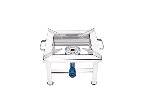 Primelife Stainless Steel Single Burner 10 Inch Square Open Gas Stove with Fitted Brass Nut Hose Pipe, High Pressure Regulator, Valve and Gas Lighter (10 L X 10 W X 8 H Inch, Silver)