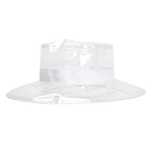 PRETYZOOM Womens Rain Hat Transparent PVC Rain Hat Rain Cap Hair Protection Clear Headgear Sun Visor Cap White