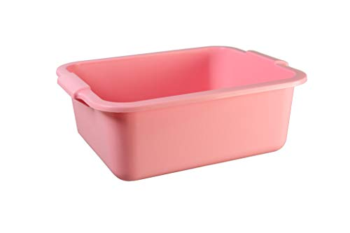Schüssel 11 L mit Griff eckig rosa, blau, metallic grün Allzweckschüssel Plastik Spülschüssel Plastikschüssel Fußwanne Wanne (rosa)